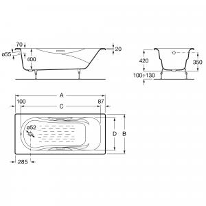 Ванна чугунная Roca Malibu 160x75 без отверстий для ручек, anti-slip 231060000