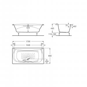 Ванна чугунная Roca Akira 170х85 с отверстиями для ручек, anti-slip 2325G000R