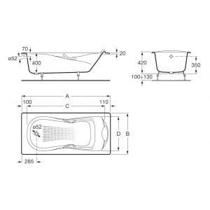Ванна Roca Haiti 170x80 с отверстиями для ручек, anti-slip 2327G000R