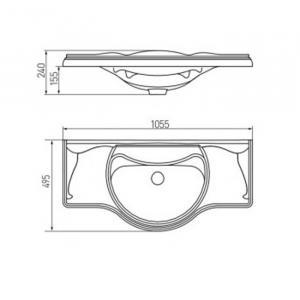 Раковина Roca America 105 см, мебельная 327205000