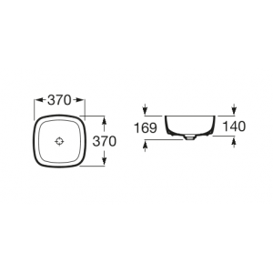 Раковина Roca Inspira Soft 37х37 см, накладная 327502000