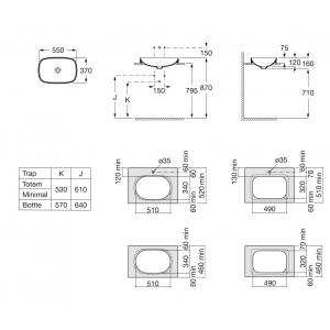 Раковина Roca Inspira WB Soft 37х55 см, накладная 327504000