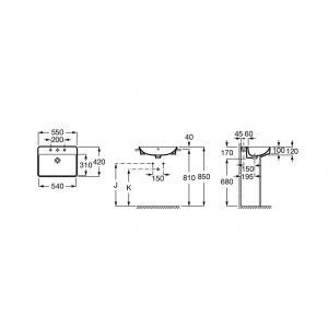 Раковина Roca Inspira Square 55x42 см, накладная 32753S000