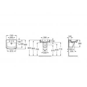 Раковина Roca Hall 75x49,5 см, универсальная 32762G000