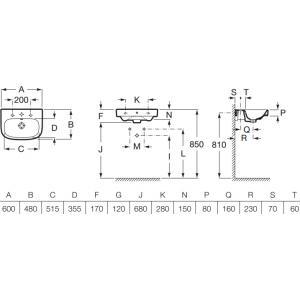 Раковина Roca Debba 60x48 см, подвесная 32799400Y