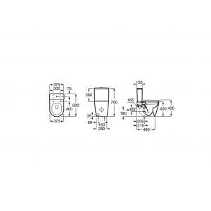 Чаша унитаза Roca Inspira Round Rimless Compact напольная, оникс 342529640