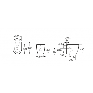 Чаша унитаза Roca Meridian Compact, приставная 347247000