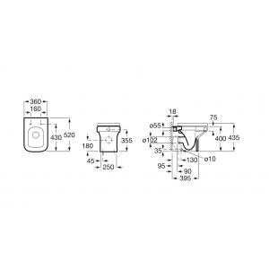 Комплект Roca Dama-N: чаша унитаза напольная, бачок для унитаза 347787000GRP-0