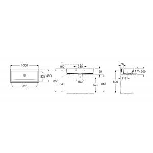 Раковина Roca Access 100х45 см, подвесная 368PB8000