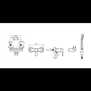Смеситель для душа Roca L20 с душевой лейкой и шлангом 5A2009C0M