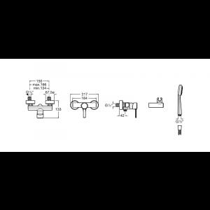 Смеситель для душа Roca Targa с душевой лейкой и шлангом 5A2060C0M