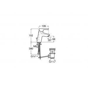 Смеситель для раковины Roca Malva с аэратором, высота излива 6,8 см, 5A303BC0M