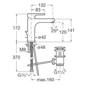 Смеситель для раковины Roca L20 XL Mezzo с аэратором, высота излива 11,9 см, 5A3F09C00