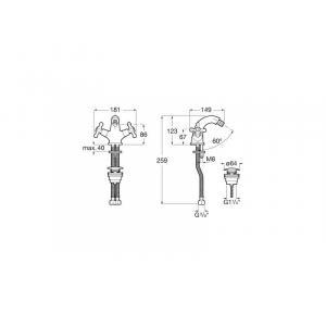 Смеситель для биде Roca Carmen двухвентильный с нажимным донным клапаном 5A6A4BC00