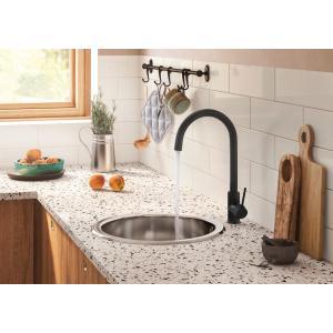 Смеситель для кухни Roca Etna черный с поворотным изливом, высота излива 20,2 см, 5A7B09CN0