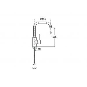 Смеситель для кухни Roca Targa с поворотным изливом, высота излива 20,2 см, 5A8360C0M