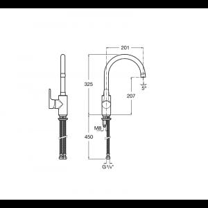 Смеситель для кухни Roca L20 с поворотный изливом, высота излива 20,1 см, 5A8409C0M