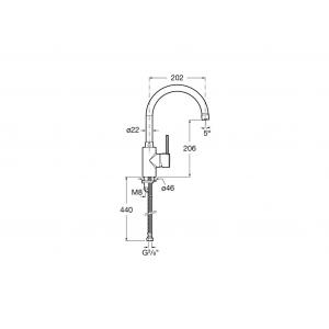 Смеситель для кухни Roca Targa с поворотный изливом, высота излива 20,2 см, 5A8460C0M