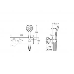 Душевой комплект смесителя Roca Puzzle с ручным и верхним душем 5A2805C00-Set1