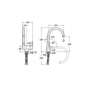 Смеситель для кухни Roca  L20 с откидным и поворотным изливом 5A8209C00