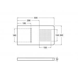 Верхний душ Roca Puzzle, настенный 500х260 мм, хром 5A9978C00