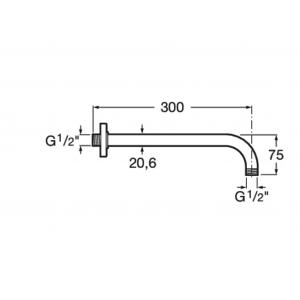 Кронштейн для верхнего душа Roca настенного крепления 300 мм 5B0150C00
