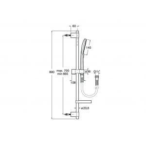Душевой набор Roca Plenum Round с ручным душем 140/3, штангой 800 мм, мыльницей, шлангом 170 см, хром 5B1411C00