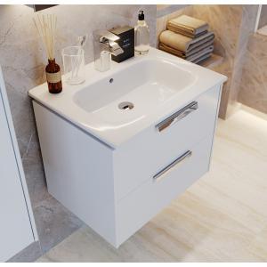 Комплект Roca Lago 60 см, белый глянец: тумба с раковиной, зеркальный шкаф, смеситель 857295806GRP-1
