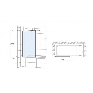 Шторка для ванны Roca Victoria 80х150 см, M17908012