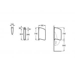 Перегородка для писсуара Roca Wing, белая 387090000