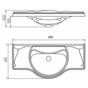 Раковина Roca America 85 см, мебельная 327206000