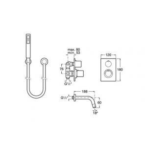 Смеситель для ванны Roca Element с душем 5A2762C00