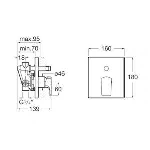 Смеситель Roca L90 для ванны-душа скрытого монтажа 5A0B01C00
