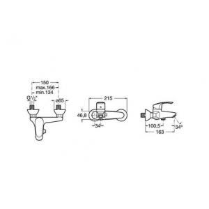 Смеситель для ванны и душа Roca Monodin 5A0207C0M