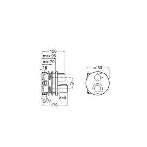 Термостат Roca T-1000 для душа, хром 5A2C09C00