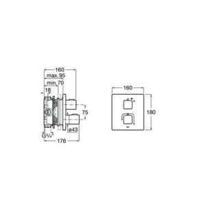 Термостат Roca T-1000 для душа, хром 5A2C1AC00