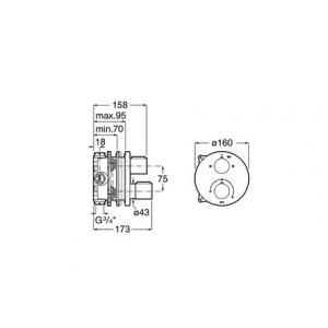 Смеситель Roca T-1000 для ванны-душа скрытого монтажа 5A0C09C00