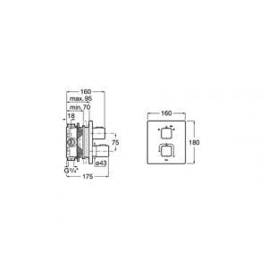 Смеситель Roca T-1000 для ванны-душа скрытого монтажа 5A0C1AC00