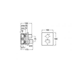 Смеситель Roca T-2000 для ванны-душа скрытого монтажа 5A0C88C00