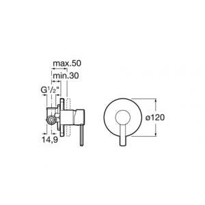 Смеситель Roca Targa для душа скрытого монтажа 5A2260C00