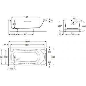 Ванна акриловая Roca BeCool 180x80 см ZRU9302782