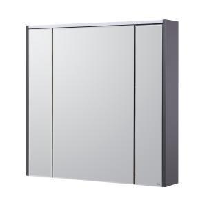 Комплект Roca Ronda 80 см, белый глянец/антрацит: тумба с раковиной, зеркальный шкаф, смеситель ZRU9302965GRP-1