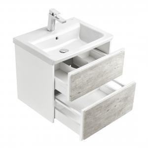 Комплект Roca Ronda 60 см, белый матовый/бетон: тумба с раковиной, зеркальный шкаф, смеситель ZRU9303002GRP-1