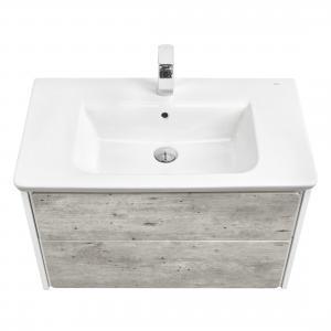 Комплект Roca Ronda 80 см, белый матовый/бетон: тумба с раковиной, зеркальный шкаф, смеситель ZRU9303004GRP-1