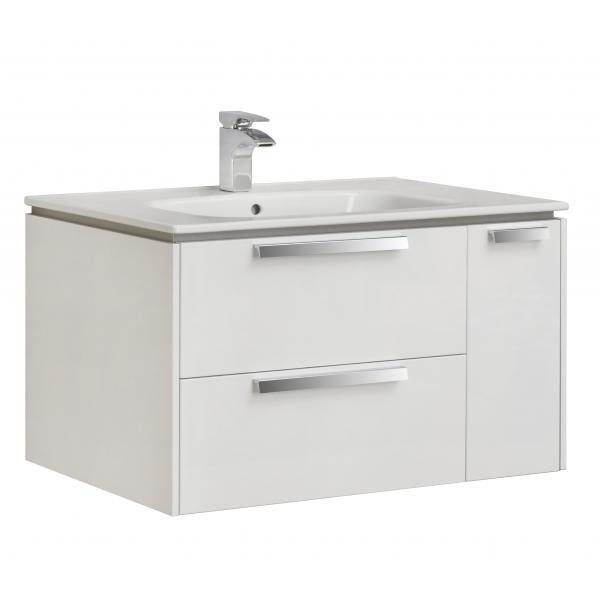 Комплект Roca Lago 80 см, белый глянец: тумба с раковиной, зеркальный шкаф, смеситель 857296806GRP-1